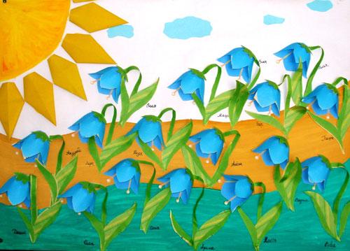 Весенний цветок — аппликация из заготовок